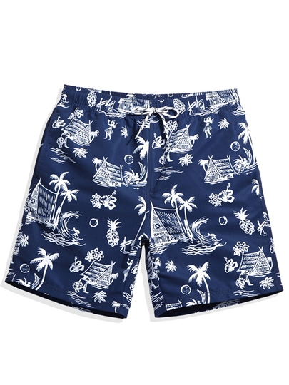 Lace-up Print Loose Men's Swim Shorts