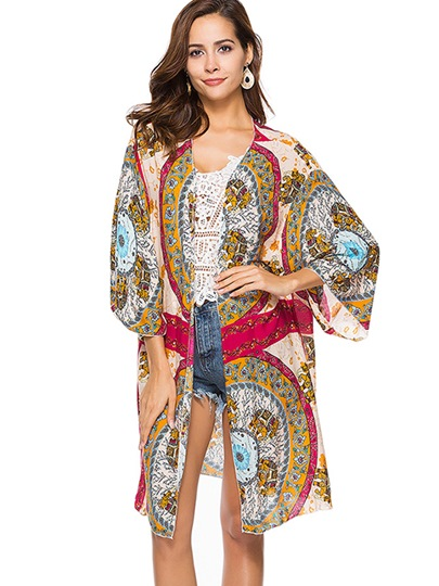 Bohemian Print Mid-Length Cover-Up