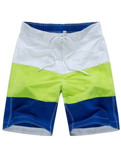 Color Block Plain Thin Men's Swim Shorts