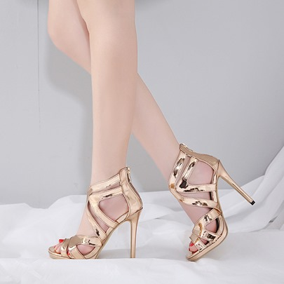 Golden Women's Wedding Shoes for Bridal Metallic Shoes