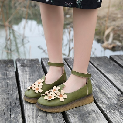 Appliques Flower Platform Women's Flat With Shoes