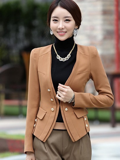 Double-Breasted Slim Fit Straight Women's Blazer