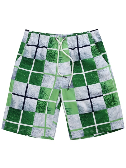 Plaid Color Block Loose Men's Swim Shorts