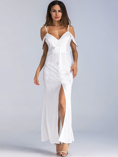 Spaghetti Straps Ivory Women's Maxi Dress