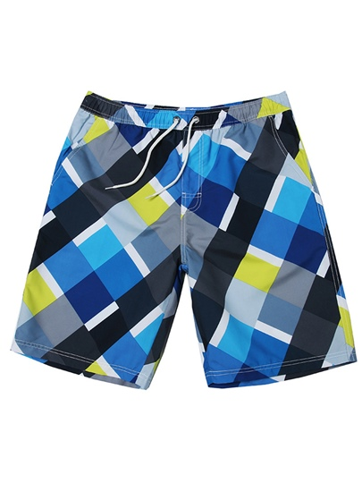 Color Block Plaid Slim Men's Swim Shorts
