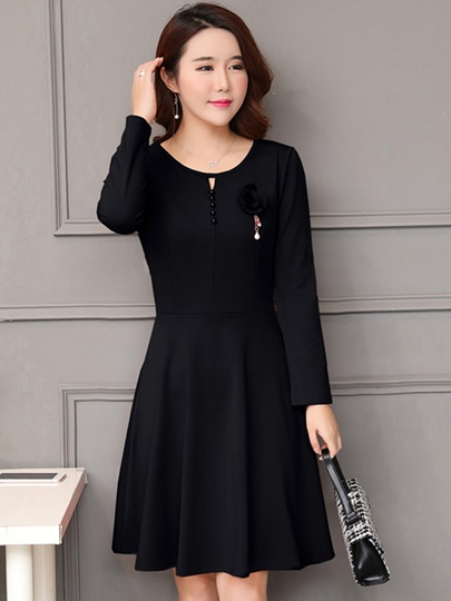 Solid Color Round Neck Buttons Women's Day Dress