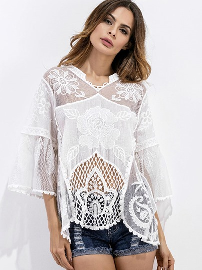 Patchwork See-Through Hollow Cover-Up