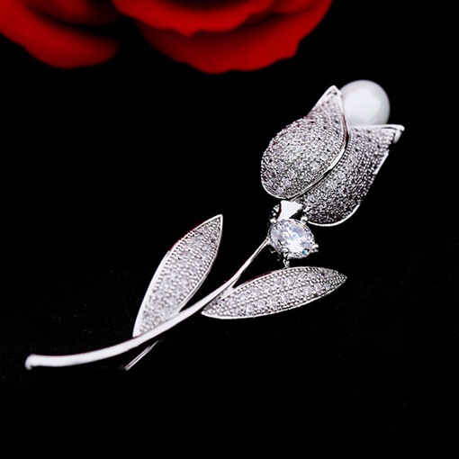 Diamante White Rose Imitation Pearl Women's Brooches