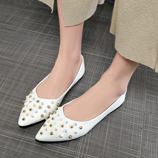 Rivet Beads Women's Plain Flats