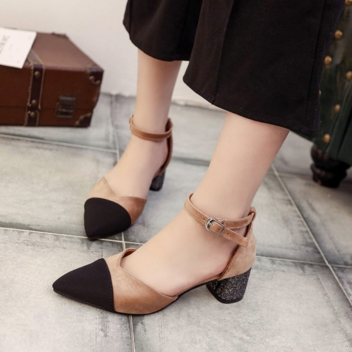 Suede Pointed Toe Chunky Heel Women's Pumps