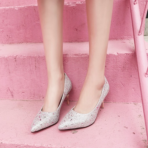 Designer Heel Sequin Plain Pumps Women's Party Shoes
