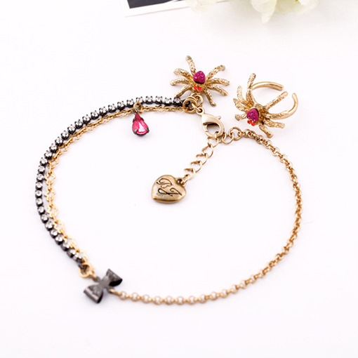 Alloy Spider Design Diamante Anklet