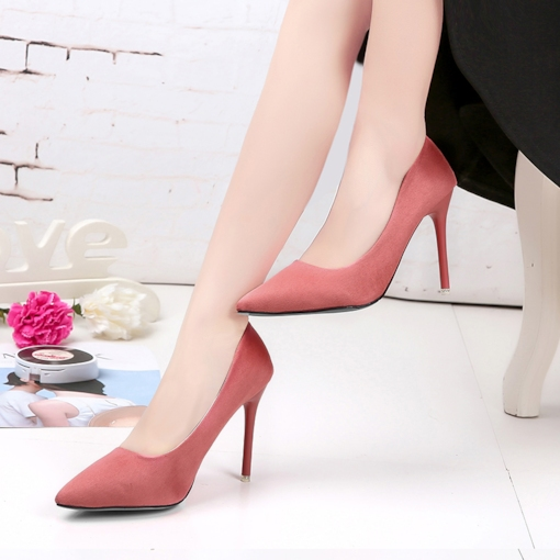 Pointed Toe Plain Suede High Thin Heels for Women