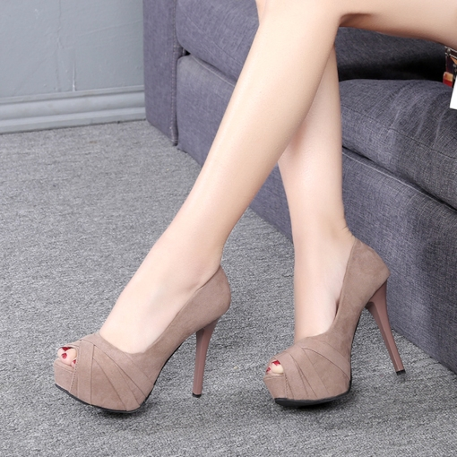 Peep Toe Plain Platform Shoes for Women