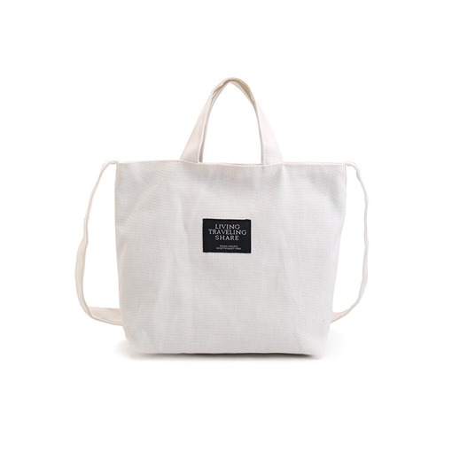 Simple Solid Color Soft Canvas Shoulder Bag
