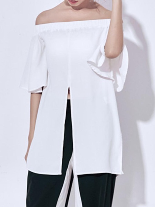 Slit Trim Front Plain Off-Shoulder Women's Blouse