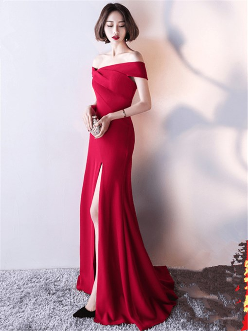 Off-the-Shoulder Mermaid Pleats Split-Front Evening Dress