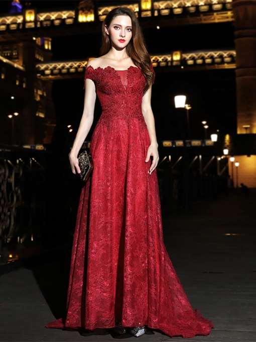 A-Line Lace Beading Sashes Evening Dress