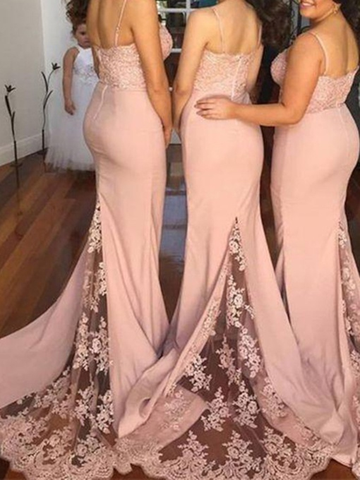 Spaghetti Strap Lace Mermaid Bridesmaid Dress