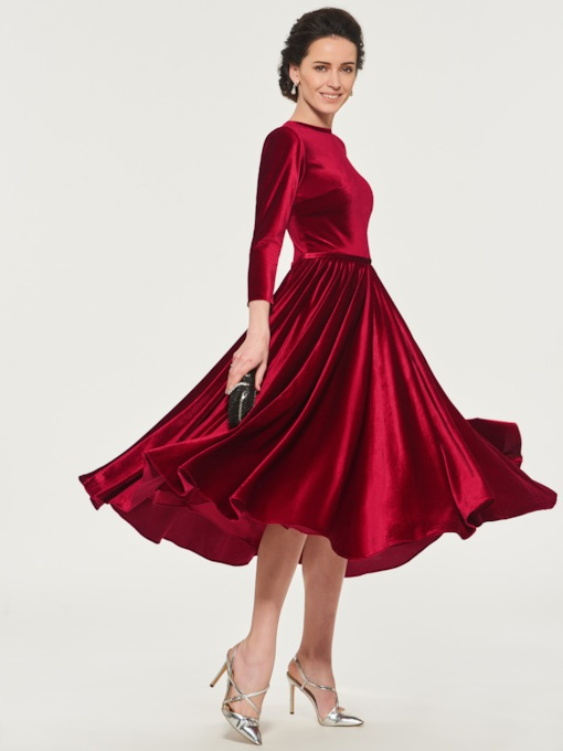 Tea-Length Velvet Mother of the Bride Dress with Sleeves