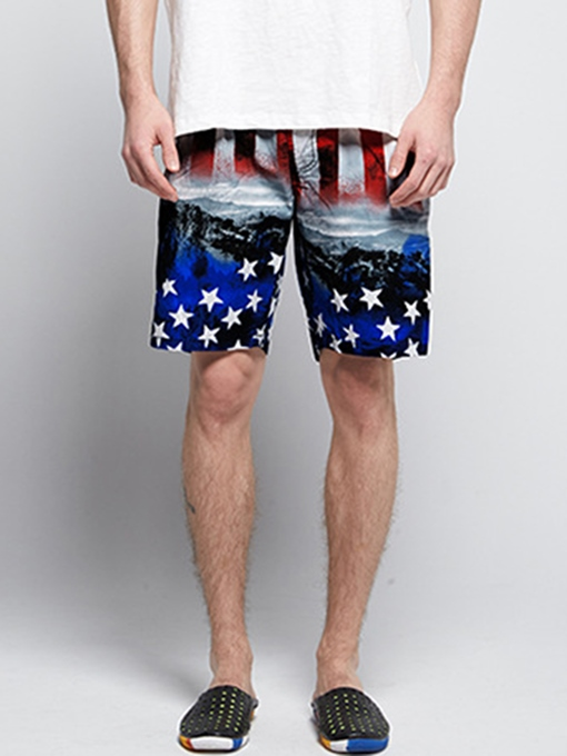 Quick Dry Graphic Print Loose Men's Beach Shorts
