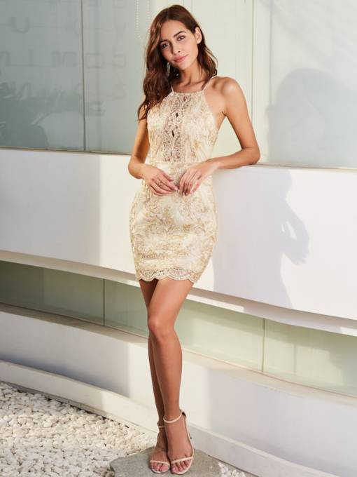 Golden Sleeveless Women's Sexy Dress