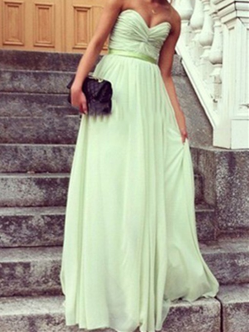 Pleats Ribbon Sweetheart Floor-Length Long Bridesmaid Dress
