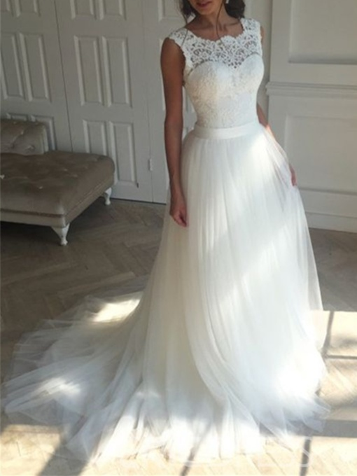 Lace Top Tull Beach Wedding Dress