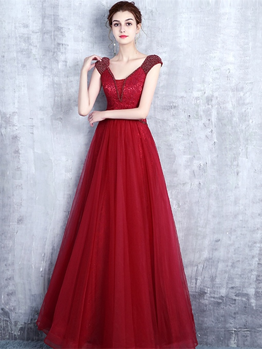 A-Line Beading Bowknot Lace Evening Dress
