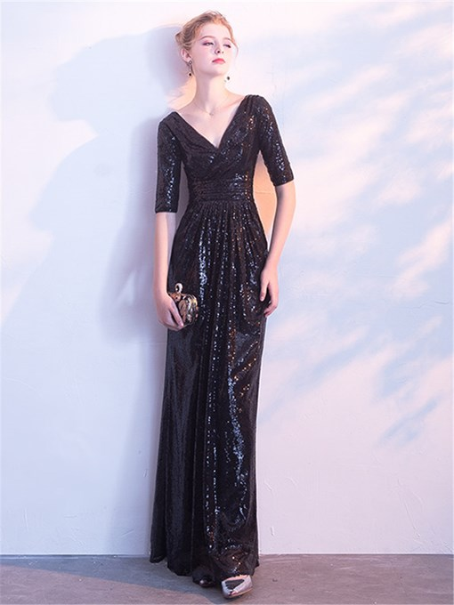 A-Line V-Neck Sequins Long Evening Dress