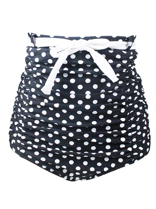 Polka Dots High-Waist Pleated Swimming Trunk