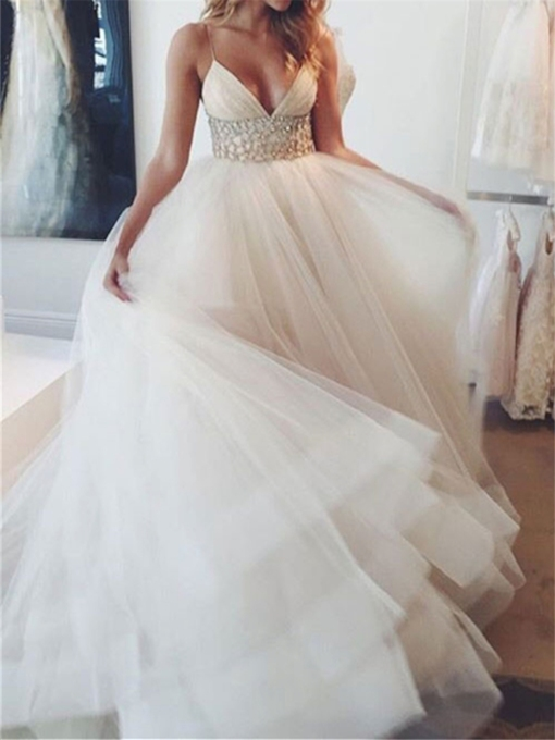 Spaghetti Straps Beaded Empire Waist Wedding Dress