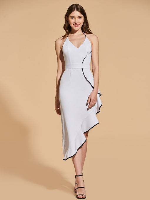 Halter Sheath Ruffles High Low Cocktail Dress