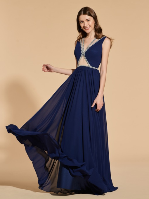 A-Line V-Neck Beading Empire Prom Dress