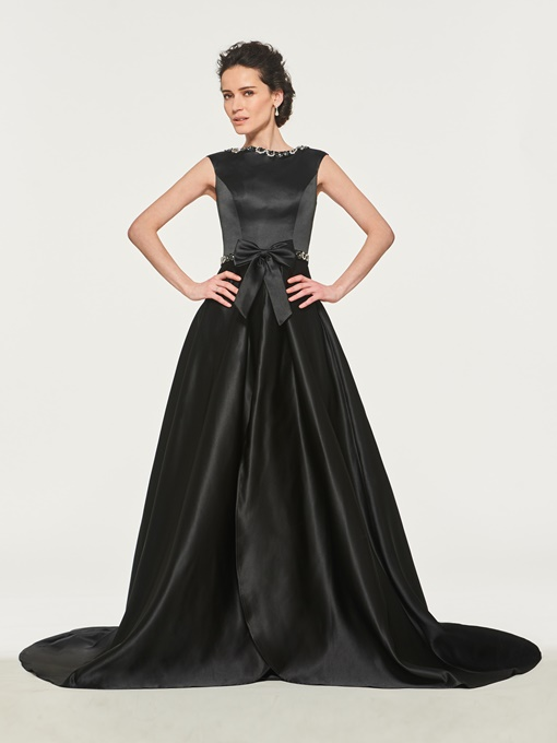 Beaded Bateau Neckline Mother of the Bride Dress