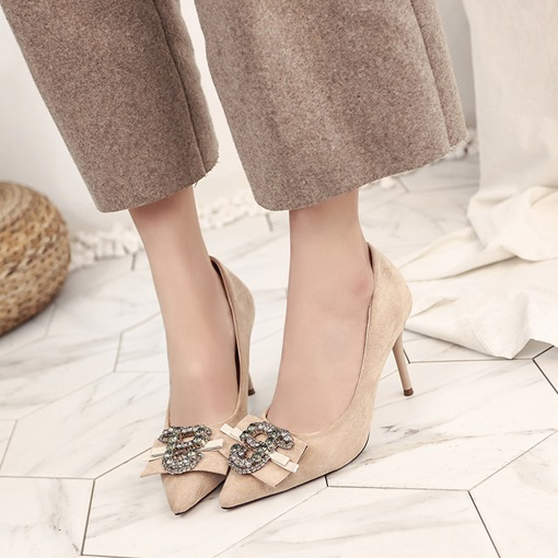 Plain Suede Rhinestone Women's Dressy Shoes For Women