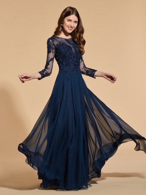 Appliques Beading Button Prom Dress with Sleeves