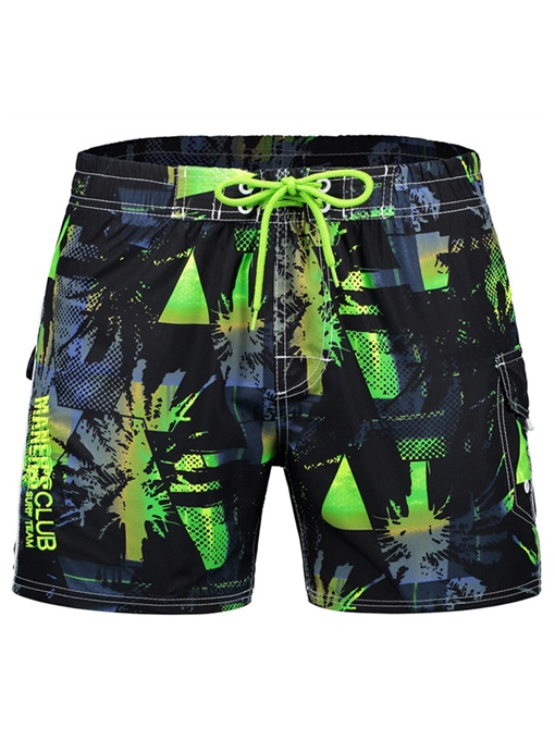 Quick Dry Lace-up Print Loose Men's Beach Shorts