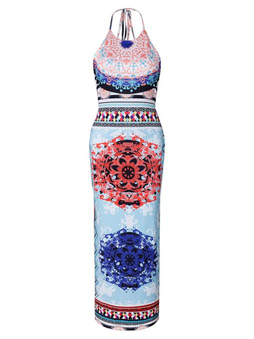 Halter Printing Bohemian Women's Maxi Dress