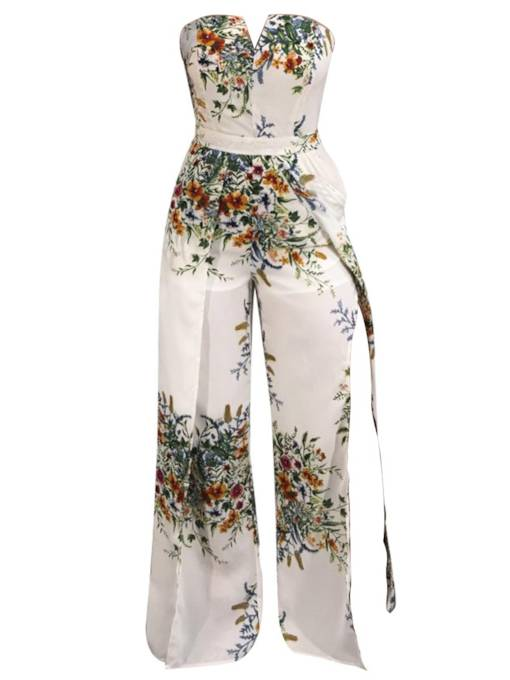 Floral Print Backless Wide Legs Women's Jumpsuit