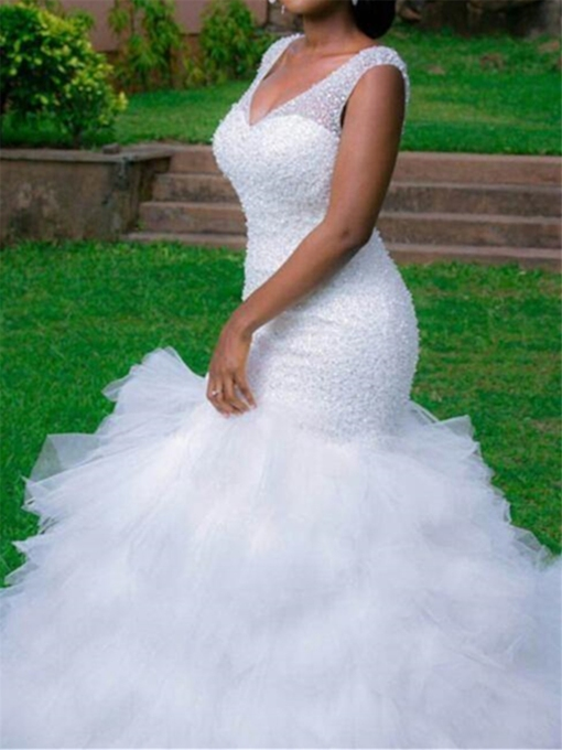 V-Neck Beading Mermaid Chapel Train Wedding Dress