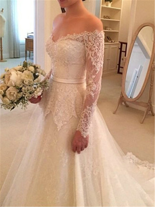 Long Sleeves Off-The-Shoulder Lace Wedding Dress