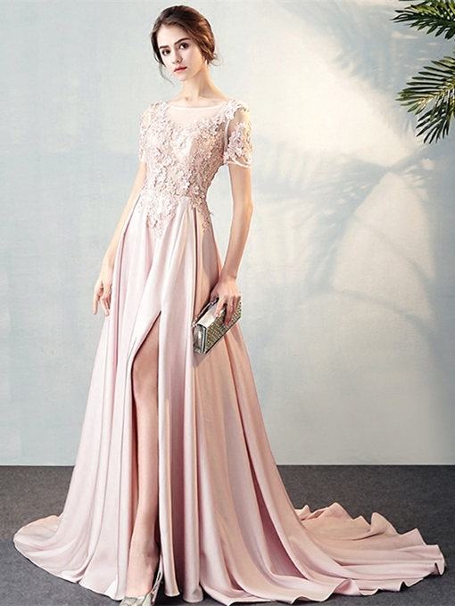 A-Line Appliques Split-Front Scoop Evening Dress