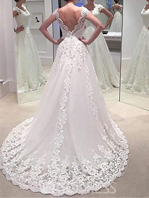 V-Neck Appliques Wedding Dress