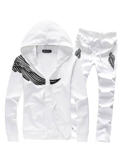Hooded Print Slim Plain Men's Sports Suits