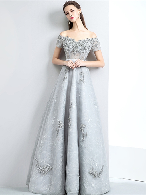 A-Line Lace Pearls Appliques Evening Dress