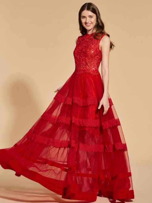 A-Line Jewel Neck Tiered Lace Prom Dress