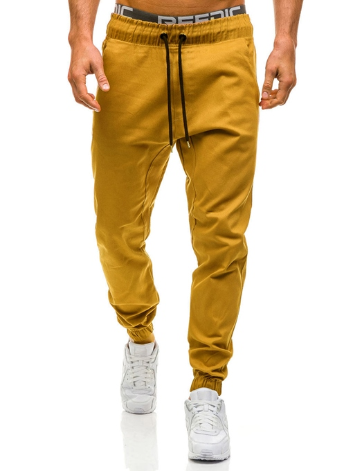 Lace-up Solid Color Cotton Men's Casual Pants