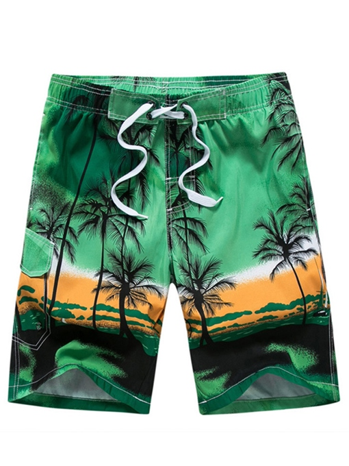 Coconut Print Quick Dry Loose Men's Beach Shorts