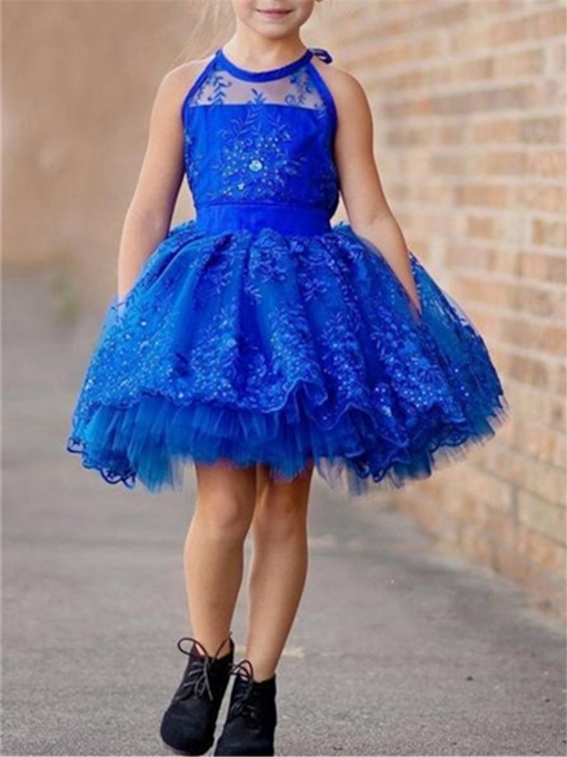 Halter Ball Gown Appliques Short Flower Girl Dress
